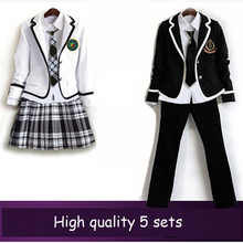 British korean japanese school uniform men and women clothing for school uniforme escolar for girls and boy 5 sets