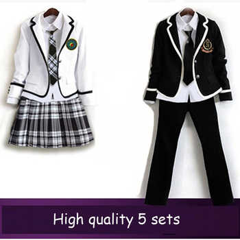 British korean japanese school uniform men and women winter clothing for school uniforme escolar costume for girl and boy 5 sets - DISCOUNT ITEM  7% OFF All Category