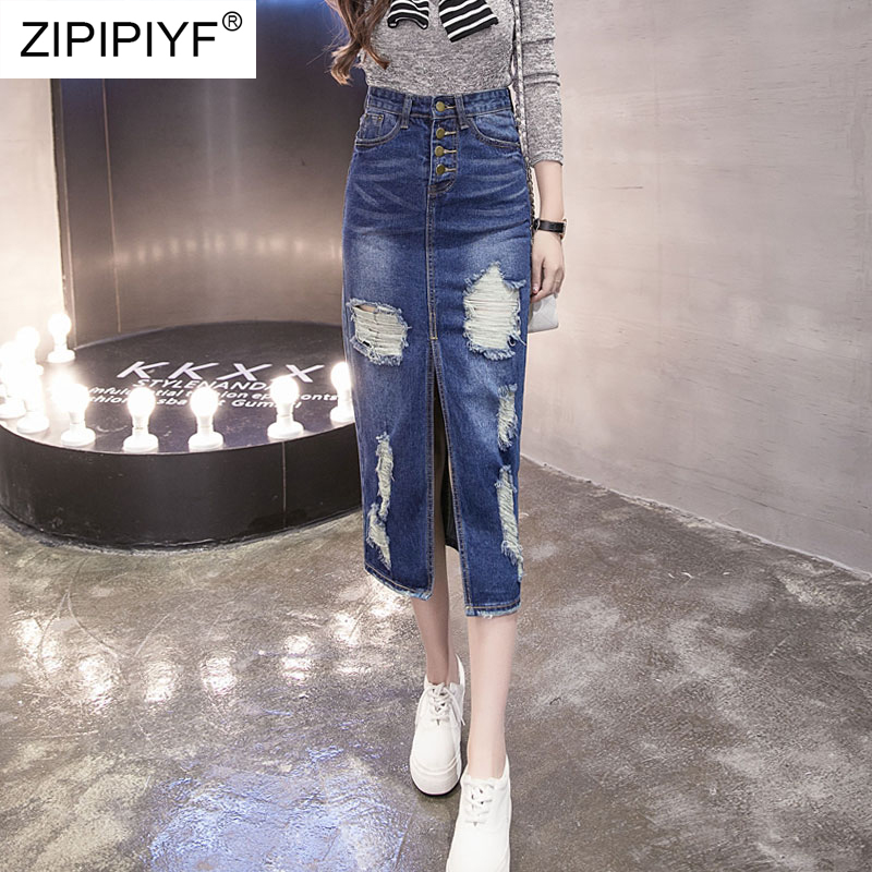 Empire Button Bodycon Denim Womens Denim Skirt Pure Color Vintage Jeans Skirts Casual Plus Size Skirts