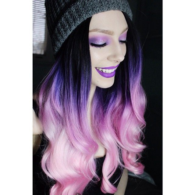Fashion Drag Queen Three Tone Color Purple Ombre Hair