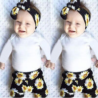 3PCS Set Newborn Infant Baby Girl Clothes Long Sleeve Solid White Romper Bodusuit Floral Pant Headband