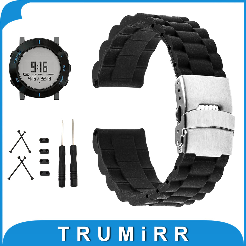 24mm Silicone Rubber Watchband + Lug Adapter + Tool for Suunto Core Stainless Steel Clasp Watch Band Strap Resin Bracelet Black stainless steel watch band 24mm for suunto core safety clasp strap loop belt bracelet black rose gold silver tool lug adapter