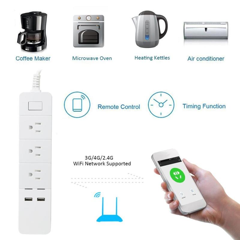 New Arrival Mini Smart Home Power Strip Electrical Socket Wifi App Wireless Remote Control 3 Ports 2 USB Outlet US Plug Z25 цены