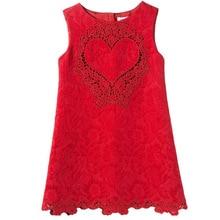 Girls Dresses 2015 New Girls Lace Dress with Loving Heart Pattern Baby Girls Dress Kids Clothes Brand Princess Children Dress