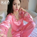 2016 new autumn summer noble rose border silk pajamas women tracksuit maternity pajamas long sleeve suit maternity clothes brand