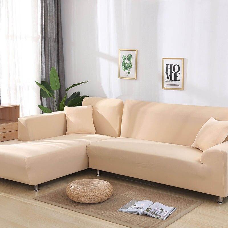 Gris/couleur unie 1 pièce/2 pièces housse de canapé pour L en forme de sectionnel canapé d'angle canapé serviette housse de canapé pour meubles fauteuils