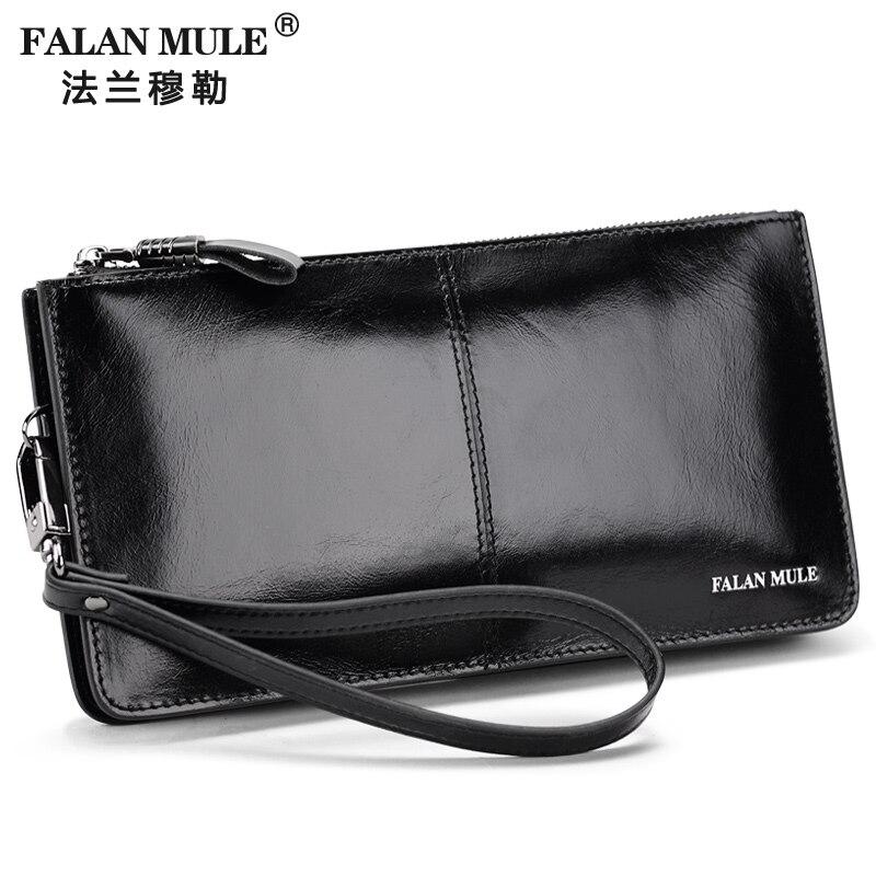 FALAN MULE Fashion Männer Geldbörsen Lange Echtes Leder Marke Geldbörse Männlichen Kupplung Brieftasche Kartenhalter