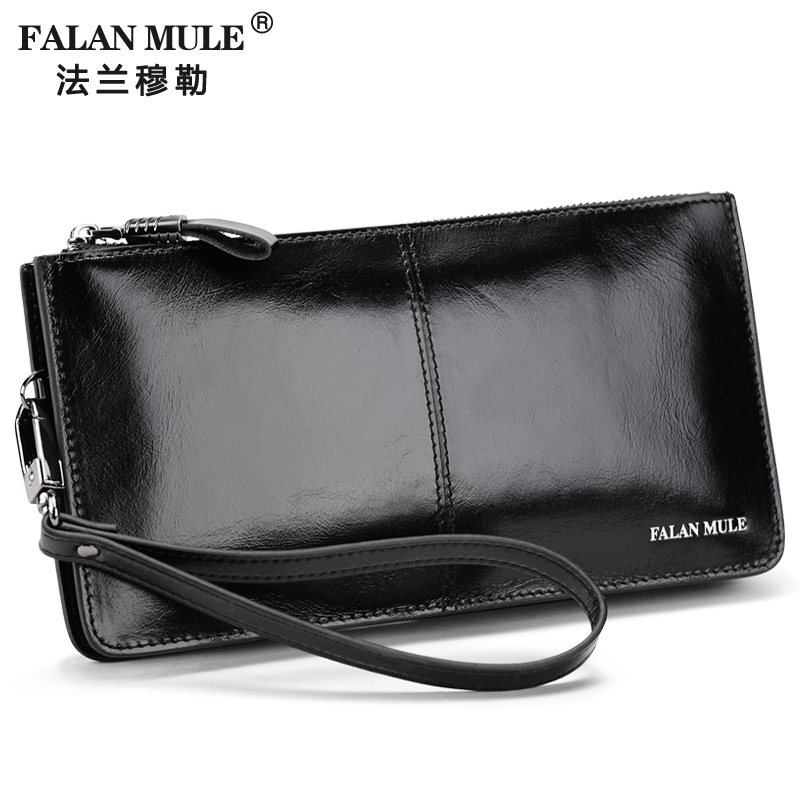 FALAN MULE Fashion Men Wallets Long Genuine Leather Brand Purse Male Clutch Wallet Card Holder men wallet male cowhide genuine leather purse money clutch card holder coin short crazy horse photo fashion 2017 male wallets