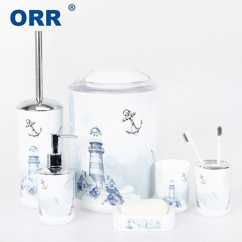 Ensemble de salle de bain 6 pièces | Tour Design poubelle gobelet brosse à dents, tasse savon, vaisselle poubelle ORR