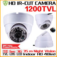 HotSale HD 1 3cmos 1200TVL INDOOR Dome Surveillance Security CCTV Analog Mini Camera 36LED IR CUT