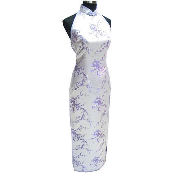New Arrival Purple Chinese Traditional Women s silk Qipao Cheongsam Long Evening Party Dress Size M