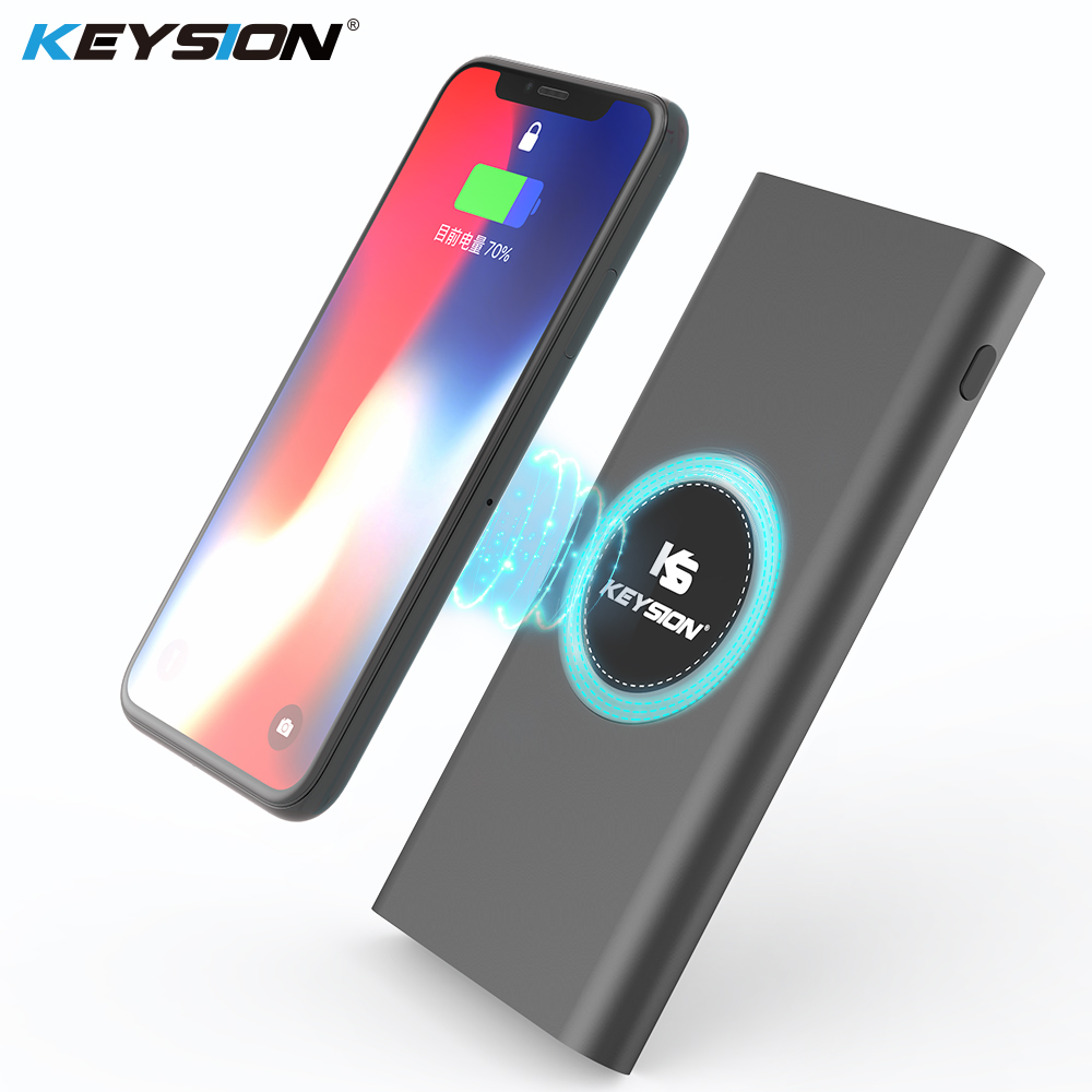 Keysion 10000Mah Qi Wi-fi Charger Energy Financial institution Quick Charging Cellphone Exterior Battery Metallic Powerbank For Iphone Xs Max Xr X eight S9
