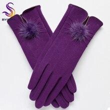 [BYSIFA] женские шерстяные перчатки из меха норки модные дизайнерские зимние женские перчатки Новые Модные Элегантные мягкие черные Варежки перчатки