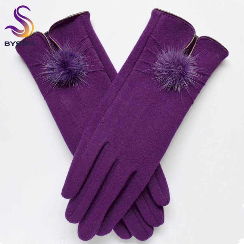 [BYSIFA] Women Mink Ball Wool Gloves Fashion Opening Design Winter Ladies Gloves New Trendy Elegant Soft Black Mittens Gloves