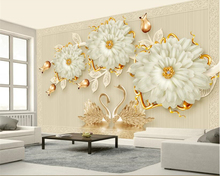 Beibehang 3d high quality wallpaper mural stereo luxury jewelry flowers swan romantic TV background wall wallpaper