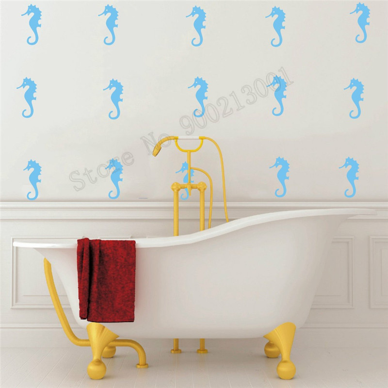 Room Decoration Bathroom Shower Wall Sticker Little Seahorse Small