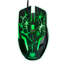 Wired 8D Ajazz Spider 2400DPI Molten Green LED Light Ergonomic Usb Optical PC Gaming Mouse Gamer 6 Buttons For Laptop Computer