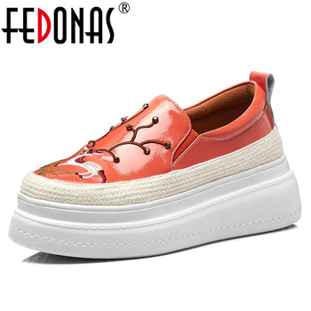 FEDONAS Brand Design Women Animal Prints Patent Leather Flats Summer Fashion Embroider Casual Shoes New Slip-on Platforms Shoes