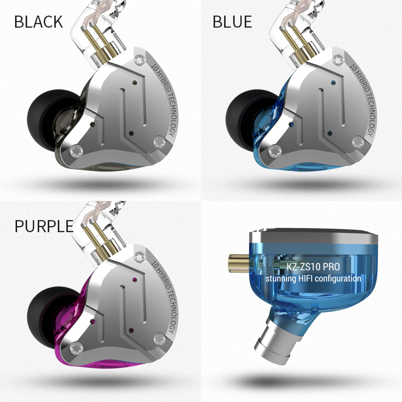 KZ ZS10 Pro écouteurs 4BA + 1DD hybride dans l'oreille casque HIFI casque DJ moniteur écouteurs écouteurs KZ ZS10 AS10 ZST CCA C10 C16 - 4