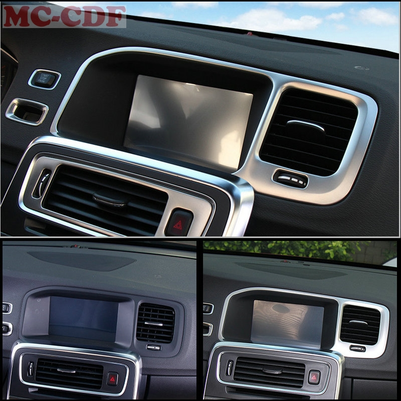 Car Styling special car console navigation decorative frame cover trim stainless steel strip 3D sticker for Volvo S60 V60 vinyl tag game console protection scratches cover sticker for ps4 wireless controller decoration cool styling skin