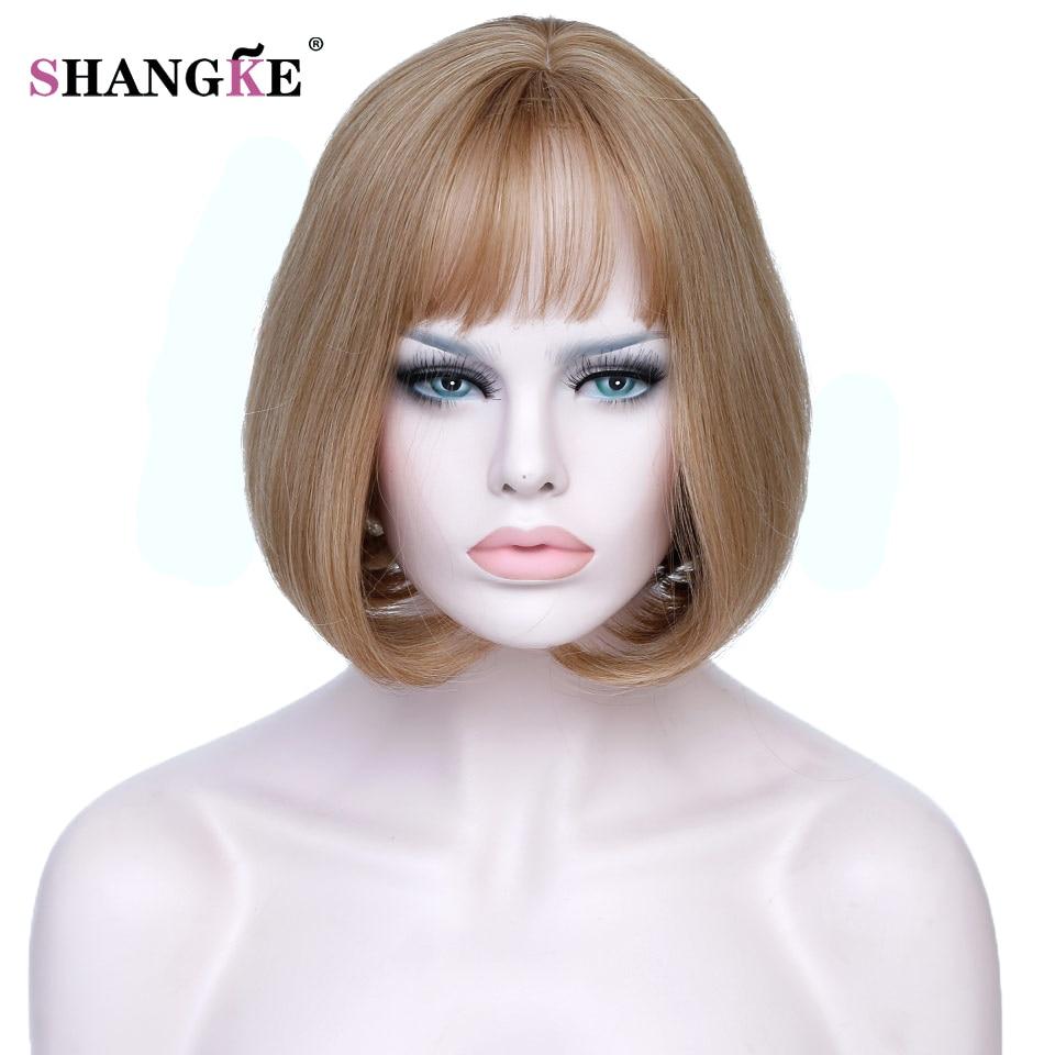 Shangke Короткие блондинка парик волос Боб Для женщин жаропрочных Блондинка Искусственные парики для белый Для женщин Natural Fake Наращивание натуральных волос