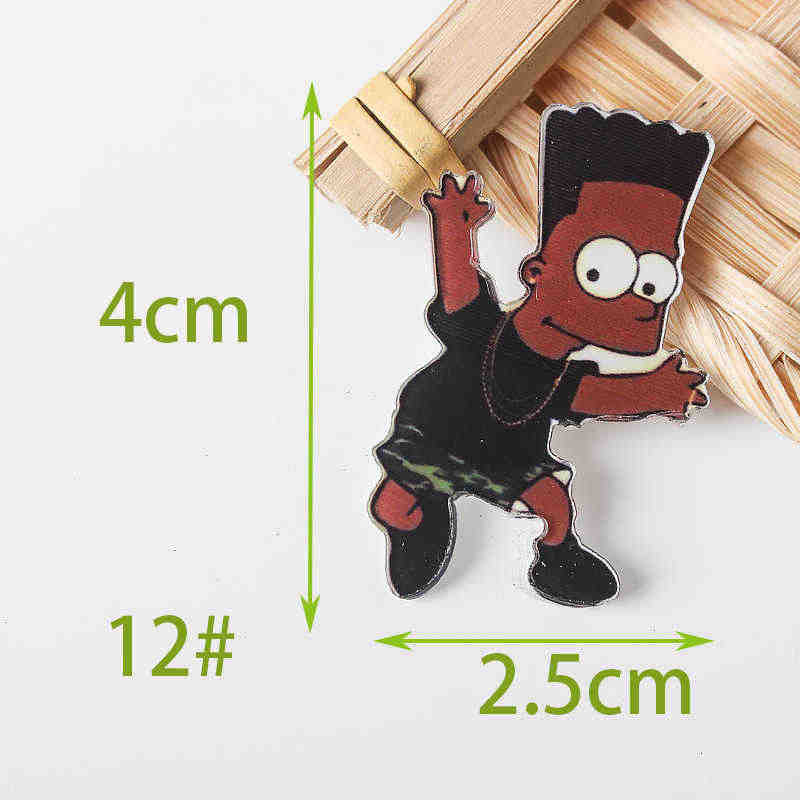 1 PS משפחת סימפסון קריקטורה תג סמלים על פין אקריליק תוויות תגי בגדים Kawaii סיכות Pvc סיכה עבור בד ותיק Z77