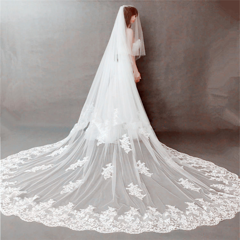 2019 New Style 2 Layer wedding veil Lace bridal veil cathedral veil Blusher Veil Cover your