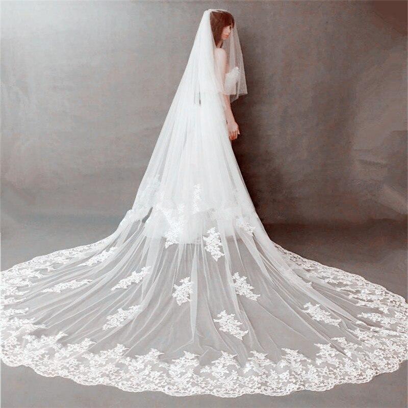 05313de180 Comprar 2018 nuevo estilo 2 capas de velo de novia de encaje velo nupcial  Catedral velo alta calidad Online Baratos