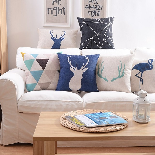 Linen Pillow Cover Geometric  Deer flamingo Cushion Cover Nordico Style Home Decorative Pillow Case 45x45cm home textile Cojines