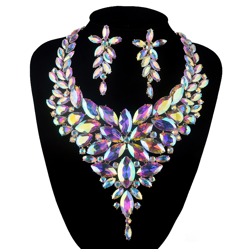 Aurora AB Marquise jewelry sets crystal rhinestone Necklace sets Bridal wedding party Necklace earrings Accessories luxury rhinestone bridal necklace earrings set crystal ab color aurora color evening party jewelry set drop water flower style