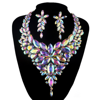 Aurora AB Marquise jewelry sets gold plated crystal rhinestone Necklace sets Bridal wedding party Necklace earrings Accessories