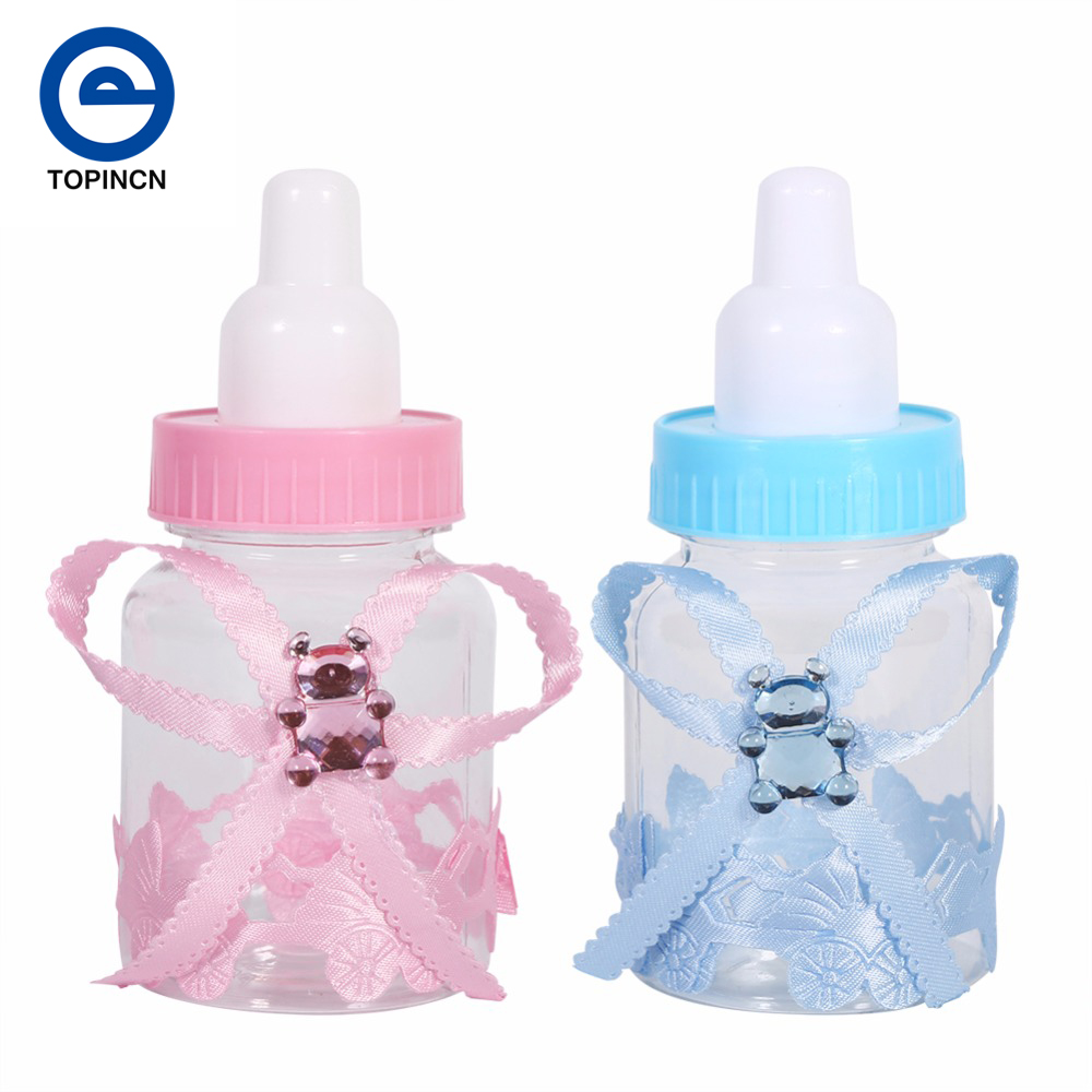 50pcs baby shower gift box bottle blue boy pink girl for Decoration maison aliexpress