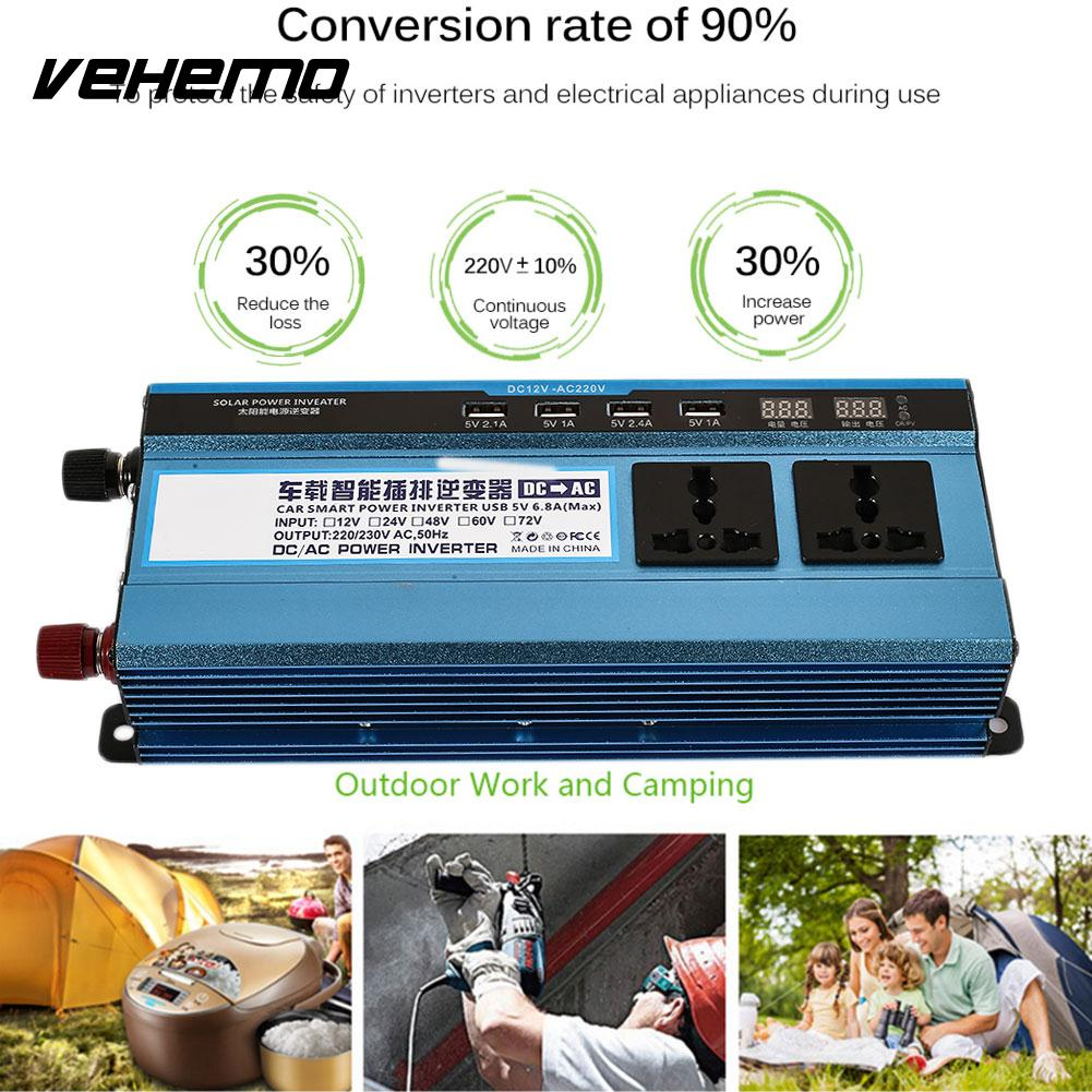 Vehemo Dual Digital Display Solar Inverter Automobile Power Converter Durable Car Inverter Adapter Portable Vehicle