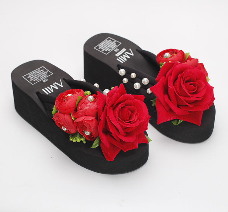 f073150989c302 Summer Style Red Rose Flower Sandals Women s Shoes Cheap High Heeled Wedges  Buy Platform Flip Flops Slippers Sale Online-in Slippers from Shoes on ...