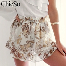hot deal buy missychilli floral print ruffle chiffon casual shorts women vintage loose high waist shorts female summer beach boho sexy shorts