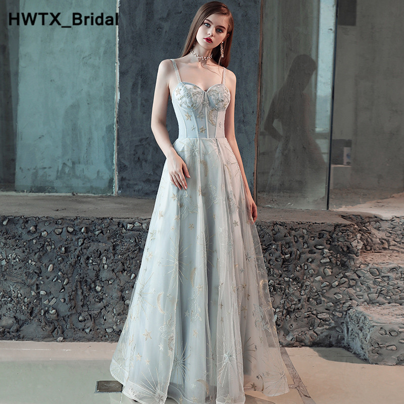 Light Grey Bridesmaid Dresses 2018 Long A Line Spaghetti Straps Tulle Plus  Size Sexy Back Simple Wedding Party Dress For Women-in Bridesmaid Dresses  from ... df7ae36dbb30