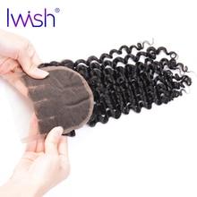 Iwish Remy Hair Brazilian Curly Hair Closure Three Part Lace Closure 4×4 inch 100% Human Hair Closure 8-20 inch Free Shipping