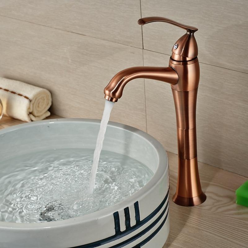 Wholesale And Retail Solid Brass Bathroom Faucet Antique Copper Vessel Sink Mixer Tap Teapot Style Single Handle Hole Mixer shure se215m