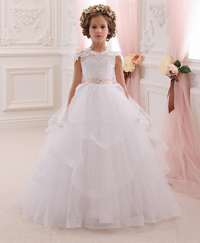 Noble Exquisite Ivory Layers Belt Flower Girls Birthday Dresses for Weddings Ball Gown  First Holy Communion Prom Party DressNoble Exquisite Ivory Layers Belt Flower Girls Birthday Dresses for Weddings Ball Gown  First Holy Communion Prom Party Dress