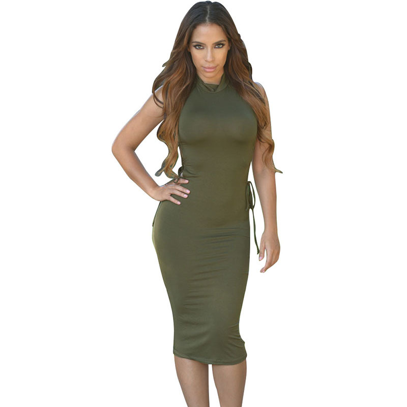 Sexy Elegant Black Army Green Evening Party Dress Women 2015 Fashion Sleeveless  Turtleneck Casual Hollow Out Slim Sheath Vestido-in Dresses from Women s ... 5152b782c