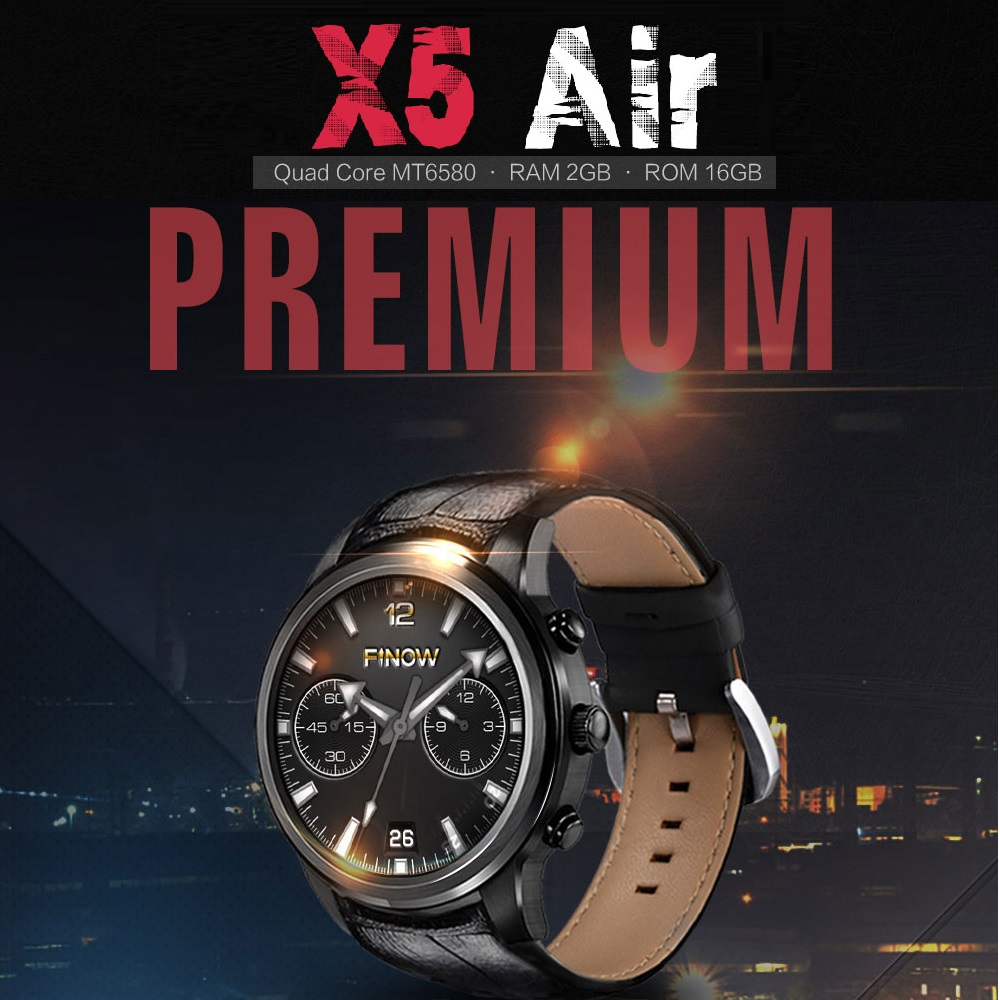 Original FINOW X5 AIR 3G Smartwatch Phone 1.39 inch Android 5.1 MTK6580 Quad Core 1.3GHz 2GB 16GB GPS Bluetooth 4.0 Pedometer no 1 d6 1 63 inch 3g smartwatch phone android 5 1 mtk6580 quad core 1 3ghz 1gb ram gps wifi bluetooth 4 0 heart rate monitoring