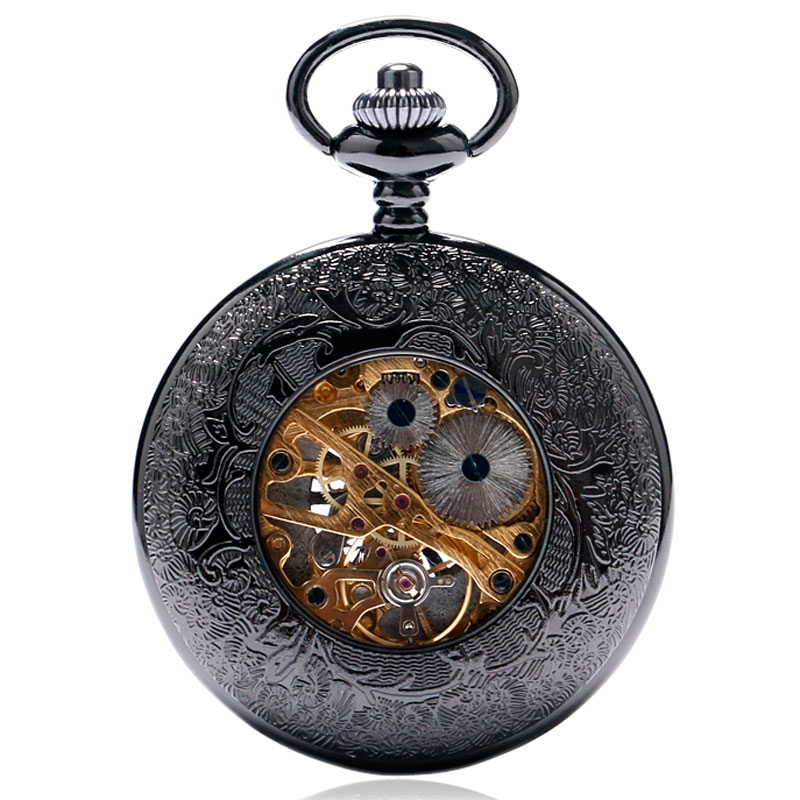 Купить с кэшбэком Hollow Semi Automatic Mechanical Pocket Watch Gift Sets for Men Women Necklace Pendant Clock Birthday Presents P825WBWB