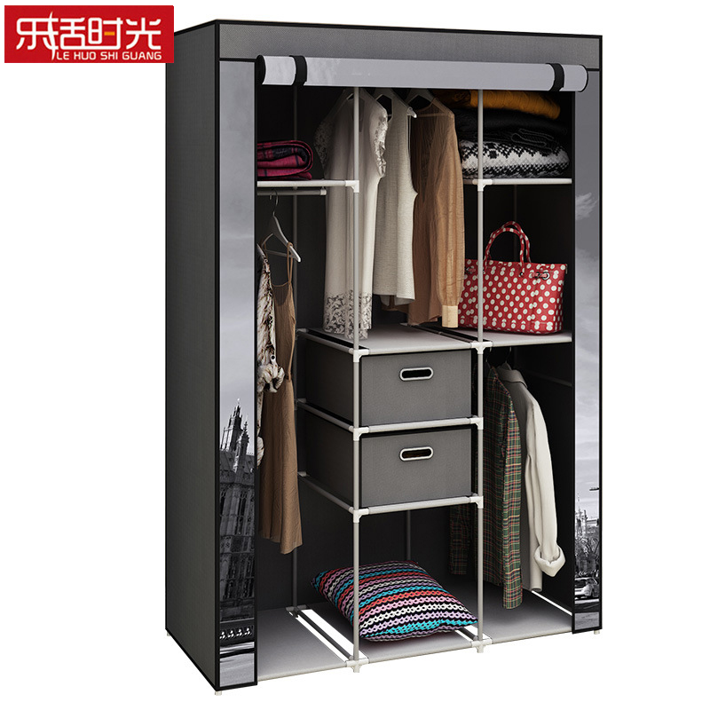 Simple Wardrobe Sliding Doors Down Assembled Nonwoven Storage Cabinet Creative Painting Clothing Closet for Home FurnitureSimple Wardrobe Sliding Doors Down Assembled Nonwoven Storage Cabinet Creative Painting Clothing Closet for Home Furniture