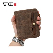 AETOO Brand vintage Canvas wallet short paragraph handmade waterproof men bag casual clutch retro male