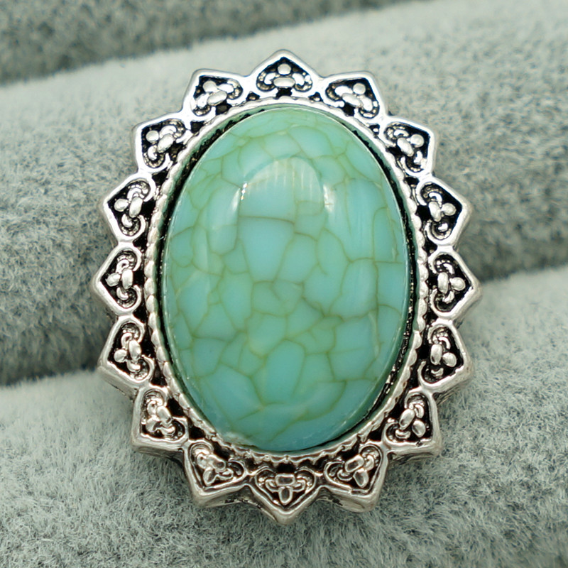 цена на New KZ1328 Beauty charm Oval turquoise pattern 18mm charm snap buttons fit DIY snap jewelry wholesale
