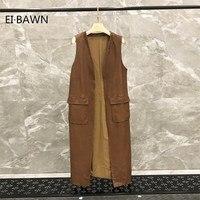 Жилет женская кожаная куртка натуральная кожа пальто Женщины натуральной овчины куртка без рукавов Большие размеры Длинный жилет безрукав
