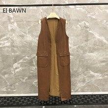 vest women leather jacket genuine coat Natural Sheepskin sleeveless plus size long waistcoat ladies