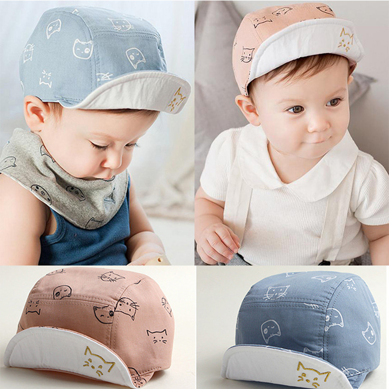 DreamShining Fashion Cat Baby Hats Unisex Girls Boys Baseball Caps Beanie Cartoon Summer Sun Hat Newborn Cotton Visor Hats Caps casquette polo hats for men black baseball caps golf hats outdoor gorras hip hop bone casual cotton sun dad hat snapback