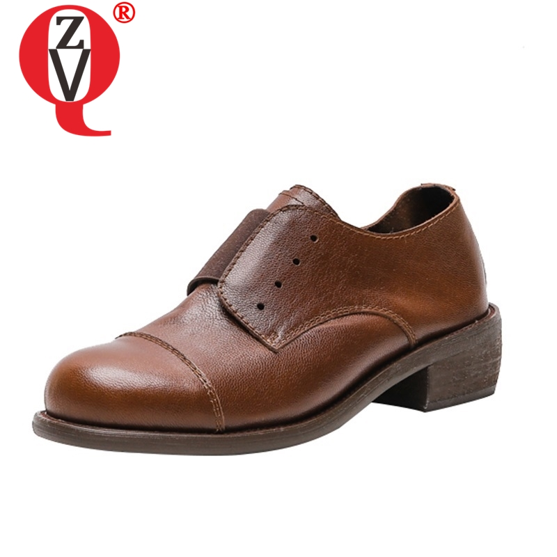 ZVQ shoes women 2019 spring newest concise casual med round toe high quality genuine leather women