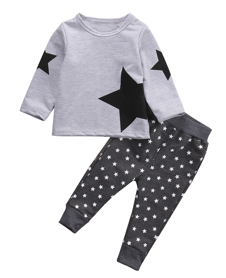 Cute 2PCS Children Kids Baby Boy Girl Autumn Warm Long Sleeve Star T-shirt Tops+Long Print Star Pants Baby Outfits Set Tracksuit 2pcs children outfit clothes kids baby girl off shoulder cotton ruffled sleeve tops striped t shirt blue denim jeans sunsuit set